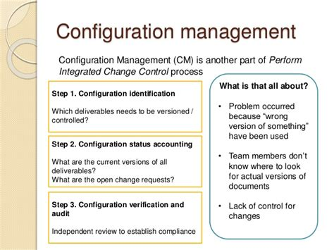 Pmp Prep 3 Project Integration Management Configuration Management Policy Template