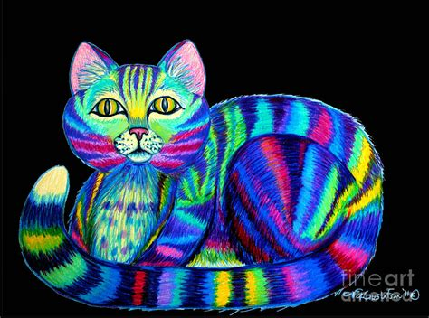 colorful cats colorful cat 2 drawing by nick gustafson