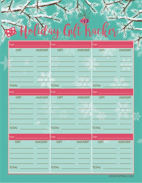 holiday gift tracker free printable life is poppin
