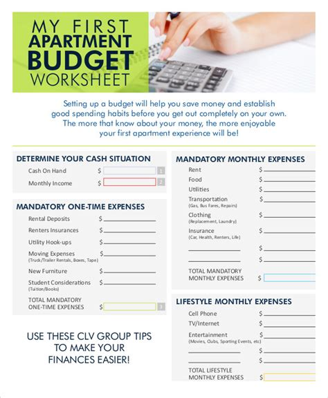 apartment budget apartment budget worksheet mmosguides
