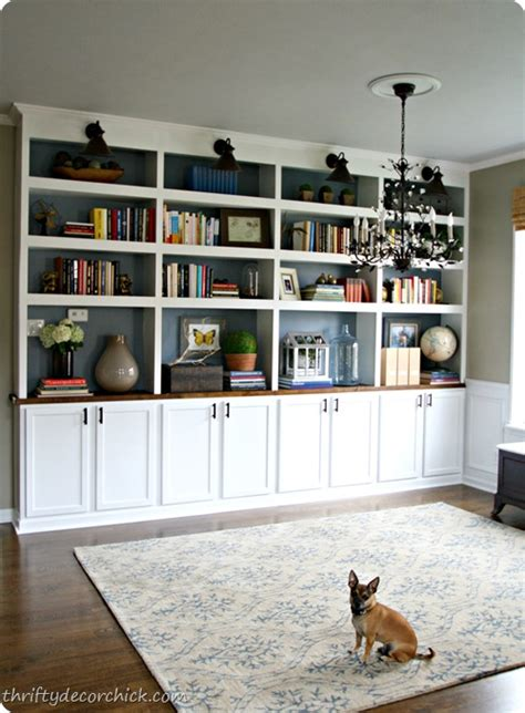 Diy Built In Bookcases Dining Room Turned Library Diy Bookshelves Wall