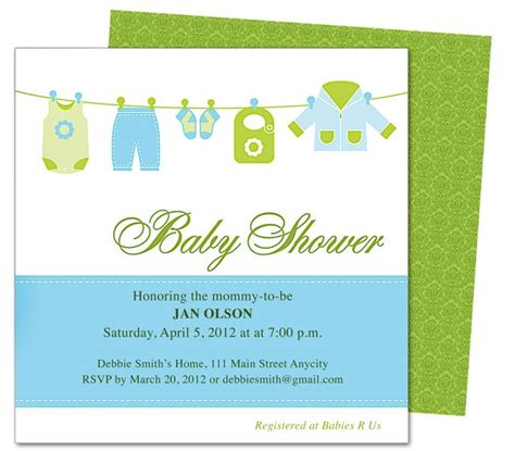 publisher templates for baby shower clothesline baby shower template invitation edit yourself