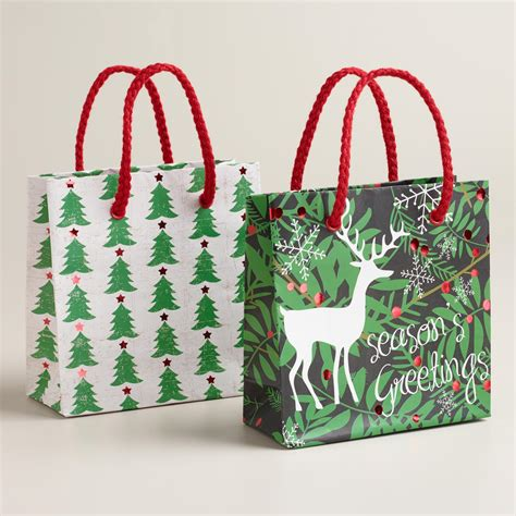 mini christmas deer and trees gift bags set of 2 world
