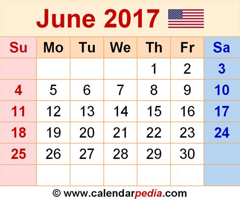 Calendar 2017 June Month June 2017 Calendar Printable Template Pdf Holidays