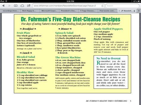 5 Day Detox Diet Plan Pdf by Nutrition Index Dr Fuhrman Nutrition Ftempo