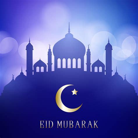 decorative eid mubarak background  mosque silhouettes