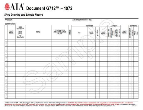 shop drawing log template g712 1972 shop drawing and sle record aia bookstore