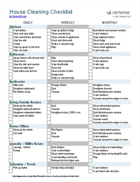 house checklist cleaning schedule template printable house cleaning