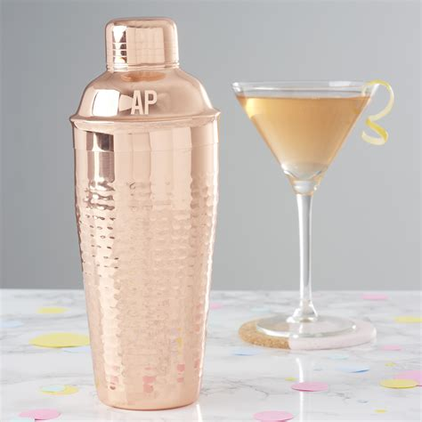 martini shaker personalised initials hammered copper cocktail shaker