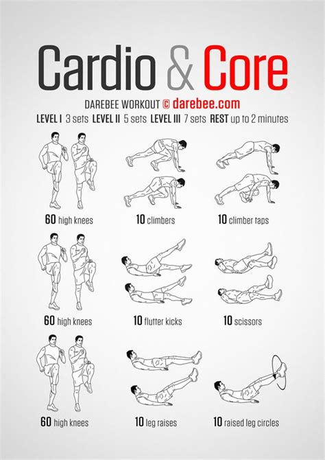 workout routines 187 health and fitness training cardio core darebee workout exercises pinterest