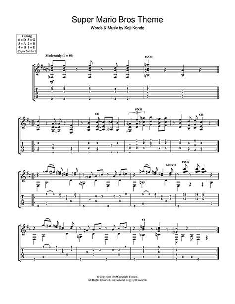 tutorial guitar mario bros super mario bros theme guitar tab by koji kondo guitar