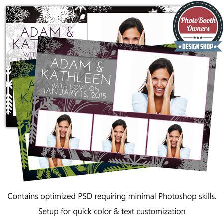 headshot border template snowflake floral postcard photo booth template photo booth