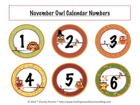 printable owl calendar numbers pin by charity preston organized classroom on classroom