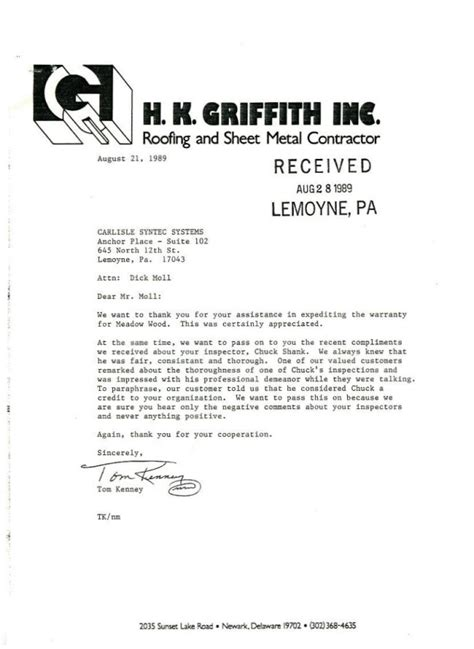Letter Of Reference For Business Services letters of recommendation roof services company