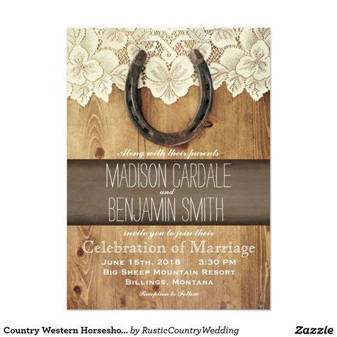 country western horseshoe lace wedding invitations rustic country wedding invitations