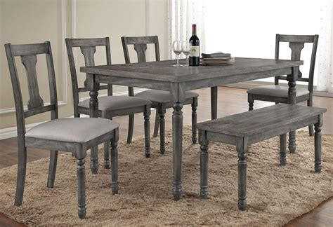 Discount Dining Room Sets Olivia Weathered Grey Finish Table Set