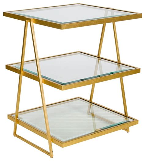 3 tier side table worlds away 3 tier square gold leaf table with beveled