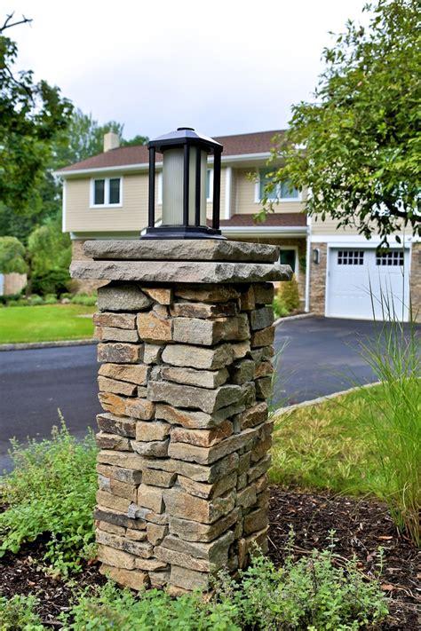 driveway pillars with lights stacked stone light pillar column masonry patios