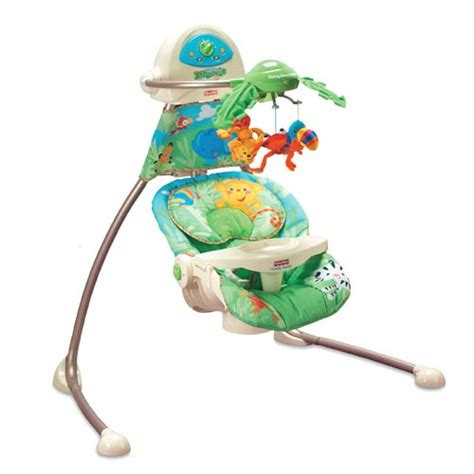 fisher price swing chair rainforest fisher price rainforest open top cradle swing plug in ebay