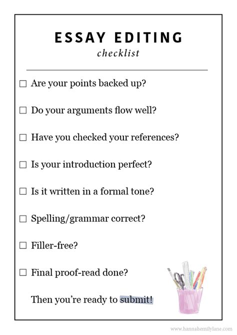 Essay Editing by Editing Checklist For Compare Contrast Essay