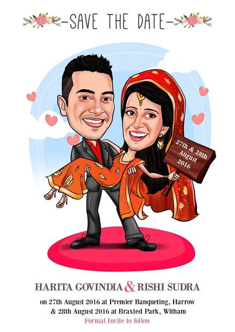 Save the date caricature card!   EloCaricatures   Indian
