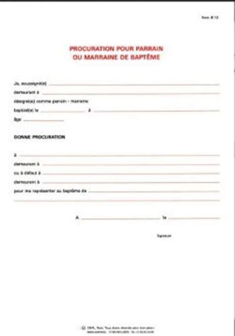 Demande De Bapteme Lettre procuration pour parrain ou marraine b12 9789996043581 objet