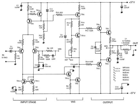 capacitance multiplier jlh figure 4 50 w class b lifier circuit diagram transistor numbers correspond with the generic