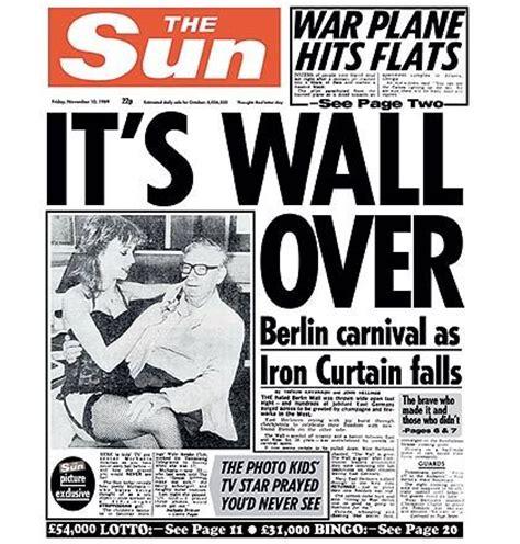 berlin wall newspaper berlin wall fall news in the sun newspaper no