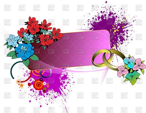 Wedding Banner Clipart by Floral Wedding Banner With Rings And Paint Blobs Royalty