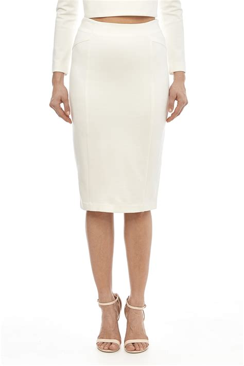 Blaque Label White Knit Pencil Skirt From Houston By