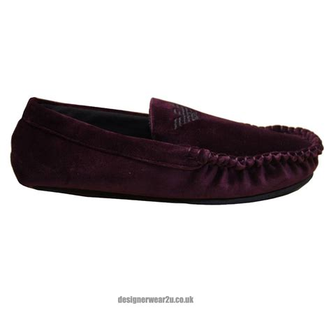 mens armani slippers uk emporio armani burgundy moccasin style mens slippers