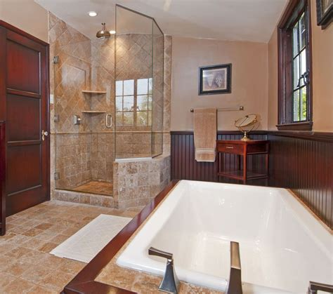 high ceiling bathroom craftsman master bathroom with frameless showerdoor high