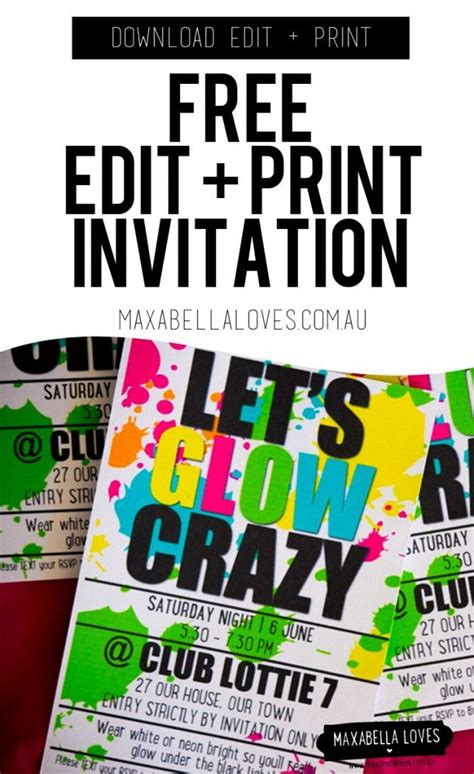 glow party invitation  edit  print