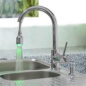 Kitchen Sink And Faucet Brass Pull Down Kitchen Faucet With Color Changing Led