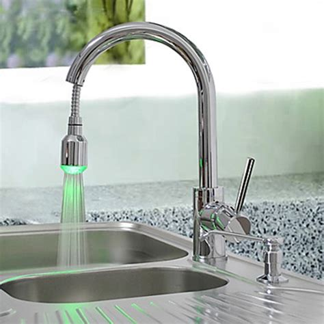 brass pull kitchen faucet with color changing led