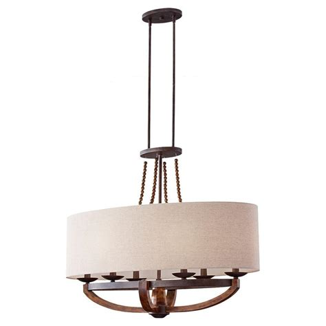 Island Chandeliers Feiss Adan 6 Light Rustic Iron Burnished Wood Billiard Island Chandelier With Fabric Shade F2751