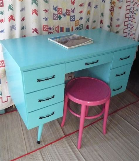 Calypso Retro Desk Vintage Painted Furniture Turquoise Beachy Painted Desk