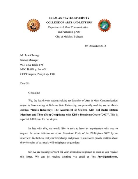 Endorsement Letter For Thesis 2