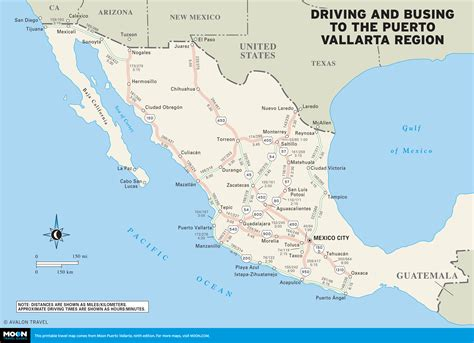 vallarta map of mexico map of driving and busing to the vallarta region of
