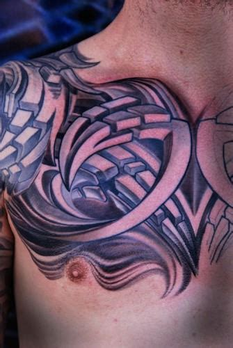 nice chest tattoos for men biomechanical chest ideas and biomechanical chest