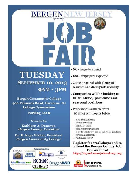Bergen County Executive Kathleen A Donovan Invites You To The Bergen County Job Fair Tuesday Career Fair Template