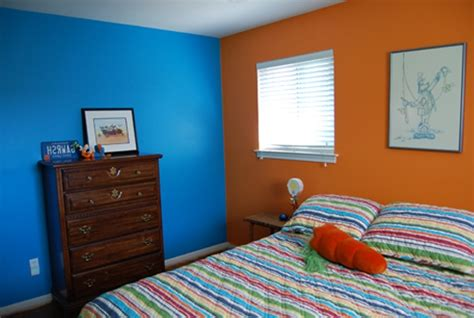 how to paint a room with two colors blue and orange beautiful wall paint inspiration for small