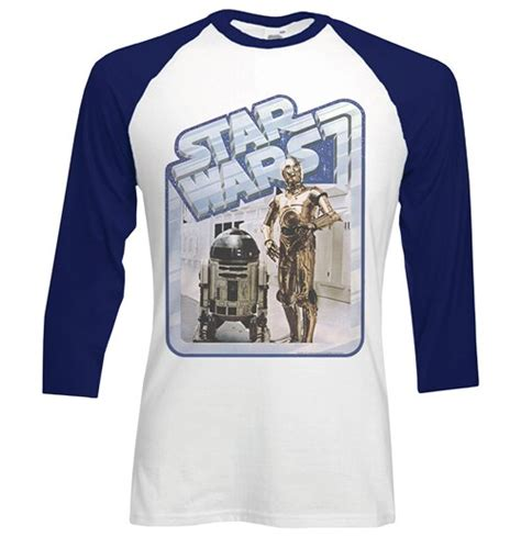 cgv star wars merchandise star wars men s raglan baseball tee retro droids for only