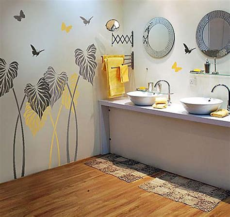 bathroom wall stencil ideas the kind of flower wall stencils for painting to give your