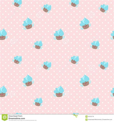 cake background pattern vector vector kawaii cupcakes seamless pattern pink and stock