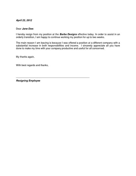 work resignation template employment resignation letter yun56 co