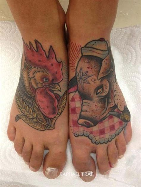chicken foot tattoo coloured rooster and pig on by raphael tiraf
