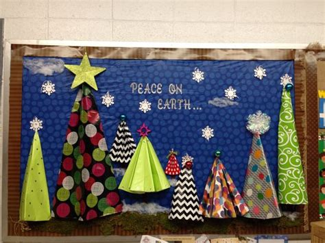 paper christmas tree bulletin board 3d bulletin boards peace on earth and origami on