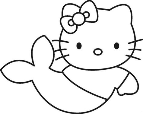 easy hello kitty coloring pages how to draw a cartoon mermaid cliparts co