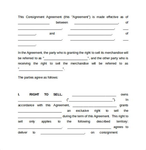 consignment agreement template word sle consignment agreement 7 documents in pdf word